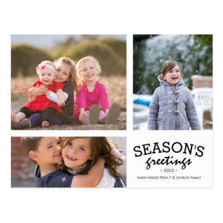 Seasons Greetings 3 Photo Collage Postcard