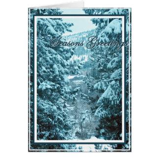 Seasons Greetings 9, Snow Covered Pine Trees Card