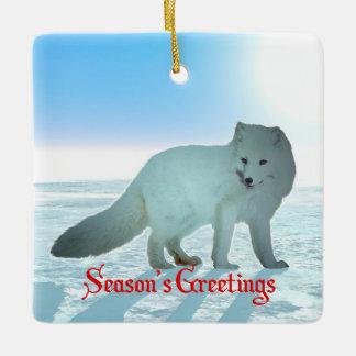 Season's Greetings - Arctic Fox Ceramic Ornament