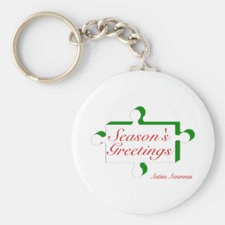 Seasons Greetings Autism Awareness Basic Round Button Keychain