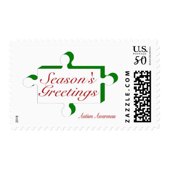 Seasons Greetings Autism Awareness Postage