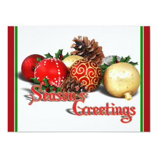 Seasons Greetings - Baubles & Pine Cones 6.5x8.75 Paper Invitation Card