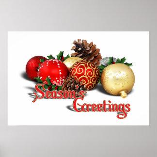 Seasons Greetings - Baubles & Pine Cones Print