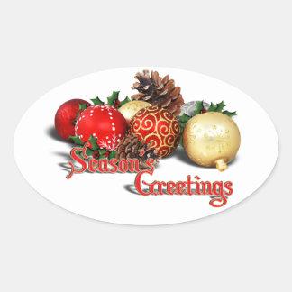 Seasons Greetings - Baubles & Pine Cones Oval Sticker