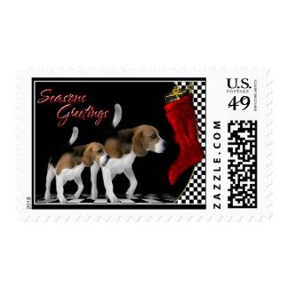 Seasons Greetings - Beagles Dog Stamps