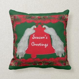 Season's Greetings Birds Bell Pillow