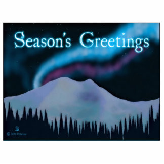 Season's Greetings - Blue Aurora Cutout