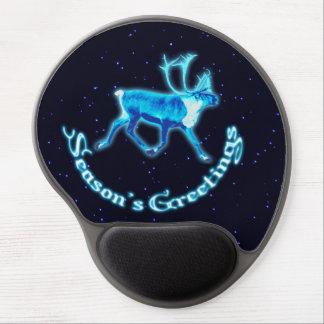 Season's Greetings - Blue Caribou (Reindeer) Gel Mouse Pad