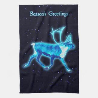 Season's Greetings - Blue Caribou (Reindeer) Towel