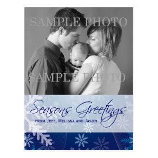 Seasons Greetings Blue Snowflakes Photo Postcard