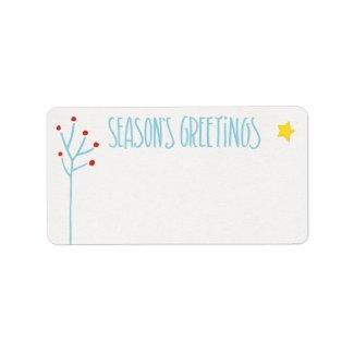 Seasons Greetings blue white Address Label