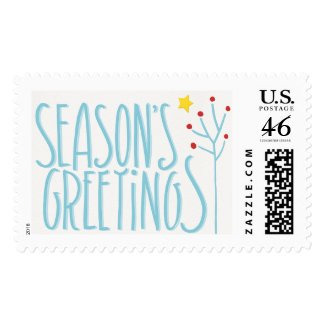 Season's Greetings blue white Stamp