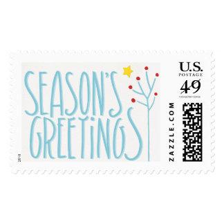Seasons Greetings blue white Stamp