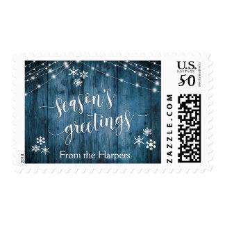 Season's Greetings Blue Wood, Lights & Snowflakes Postage