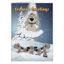 Season's Greetings Card - Angel Dog Watching Sheep