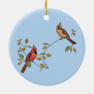 Season's Greetings Cardinals Ceramic Ornament