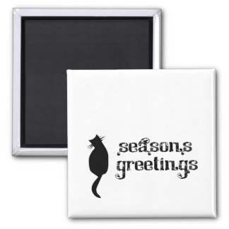 Season's Greetings Cat Silhouette 2 Inch Square Magnet