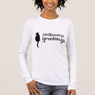 Season's Greetings Cat Silhouette Long Sleeve T-Shirt