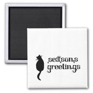 Season's Greetings Cat Silhouette Magnets