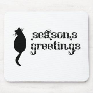 Season's Greetings Cat Silhouette Mouse Pad