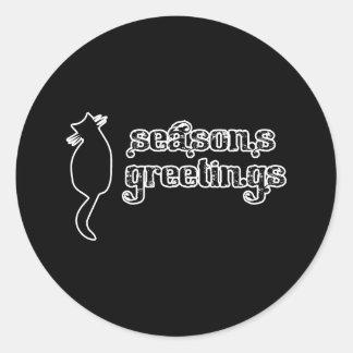 Season's Greetings Cat Silhouette Stickers