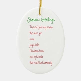 Season's Greetings Ceramic Ornament