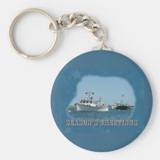 Season's Greetings - Chatham Harbor Boats Keychain