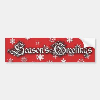 Season's Greetings christmas bumper stickers red