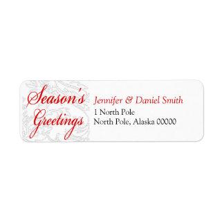 Seasons Greetings Christmas Card Mailing Sticker Return Address Labels