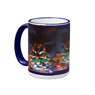SEASON'S GREETINGS CHRISTMAS CONE RINGER MUG BLUE