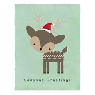 Seasons Greetings Christmas Deer In Red Santa Hat Postcard