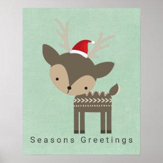 Seasons Greetings Christmas Deer In Red Santa hat Poster