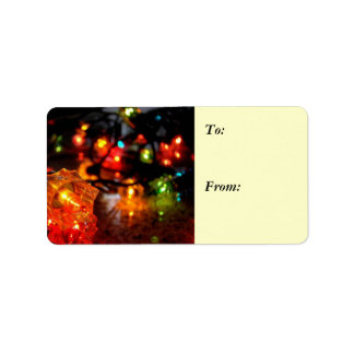 Season's Greetings Christmas Lights Gift Label 1