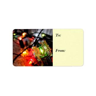 Season's Greetings Christmas Lights Gift Label 2