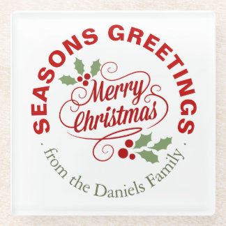 Seasons Greetings Christmas Script Typography Glass Coaster