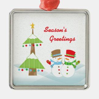 Season's greetings christmas snowmen ornament