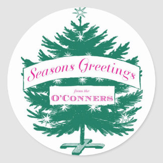 Seasons Greetings Christmas Stickers-Custom Classic Round Sticker