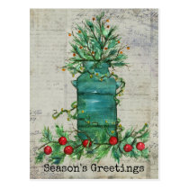Season's Greetings Christmas Tree Milk Can Collage Postcard