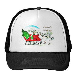 Season's greetings christmas tree put on a cart hat