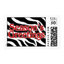 Seasons Greetings Christmas Zebra Postage
