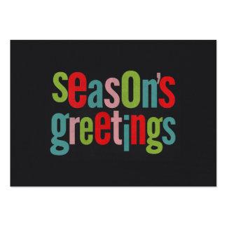 Seasons Greetings Colorful Chalkboard Business Cards