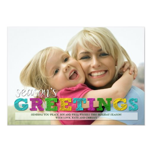 "Season's Greetings Colorful Christmas Photo Card 5"" X 7"" Invitation Card"