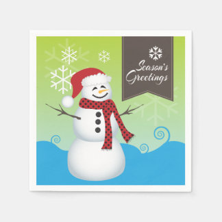 Season's Greetings Cute Snowman Paper Napkins