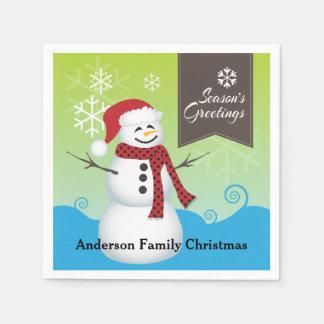 Season's Greetings Cute Snowman Personalized Paper Napkins