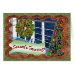 Season's Greetings, Decorated Cruise Ship Deck Greeting Card