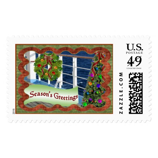 Season's Greetings, Decorated Cruise Ship Deck Postage Stamp | Zazzle