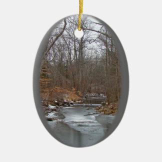 Season's Greetings Deep Creek in Ice Ceramic Ornament