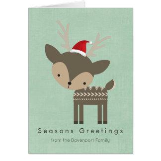 Seasons Greetings Deer In A Red Santa Hat Retro Card
