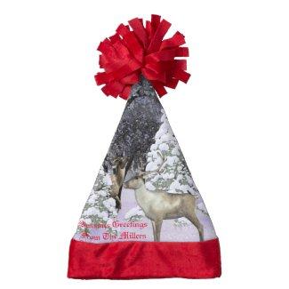 Seasons greetings Deer Santa hat customizable