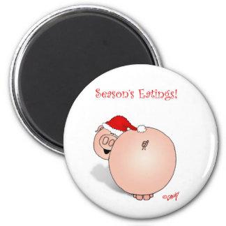 Season's Greetings (Eatings) Pig Cartoon. 2 Inch Round Magnet